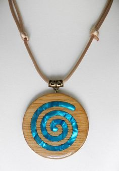Items similar to Wooden pendant with cotton thread cord (inlaid) / inlaid wooden necklace with Spool knitting cotton cord on Etsy - Necklaces / Colgantes - Celtic wooden necklace -