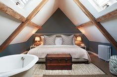 Babington House has bedrooms, lodges and cabins, and guests have access to the members' club, spa and pools. Small Loft Bedroom, Small Loft Spaces, Bungalow Bedroom, Attic Master Bedroom, Attic Bedroom Designs, Loft Room, Upstairs Bedroom, Attic Rooms, Home Bedroom