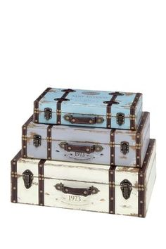 Multicolor Pastel Wood Trunks - Set of 3