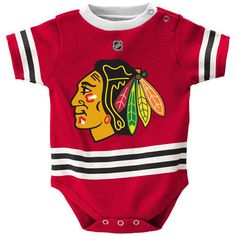 Get the perfect gear for your child to let everyone know who they cheer for! This adorable Reebok Hockey Jersey bodysuit is the perfect way to turn your favorite little one into a raving Chicago Blackhawks fan as early as possible!