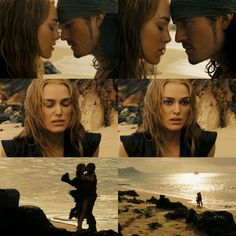 Pirates of the Caribbean Elizabeth Swann and Will Turner<--this is where they conceive, the extra credit scene is where their kid is now ten and Will returns to meet his child for the first time. Now in Dead Men Tell No Tales, Will and Elizabeth's kid is now 20 years old. It's been ten years since the end credits of At World's End