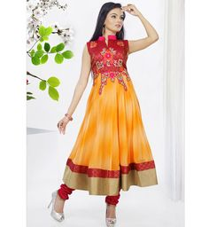 Anarkali Suit in Orange and Yellow Embroidered Georgette. #suit #dress #anarkali #dtrendsetter