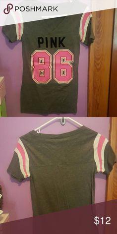 Pink Victoria Secret football style tshirt # 86 grey football style Pink shirt. Pink number 86. Great used condition. PINK Victoria's Secret Tops Tees - Short Sleeve