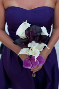 Plum and Fuchsia Orchid and Calla Lily Bouquet  by @KateSaidYes, www.katesaidyes.etsy.com
