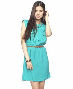 Button Tab Dress w/ Belt | FOREVER21 - 2000034479