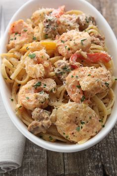 This is a classic Louisiana dish. It is simple to make once you have all of your ingredients prepped. If you want to lighten it up a bit use half and half instead of the heavy cream and go light on the parmesan.