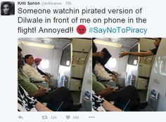 What Kriti Sanon did when a Co-Passenger is watching Dilwale piracy in the same plane she is travelling ?