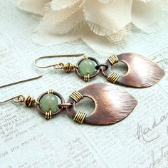 Wire Wrapped Jewelry Handmade Earrings Hammered Copper Dangle Earring Womens Handmade Mixed Metal Earring Beaded Earrings Metal Earrings