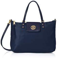 Women's Top-Handle Handbags - Tommy Hilfiger Veronica Nylon Shopper Top Handle Bag Navy One Size >>> Find out more about the great product at the image link.