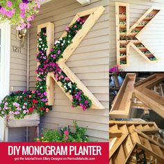 large outdoor DIY monogram planter by Ellery Designs on @Remodelaholic