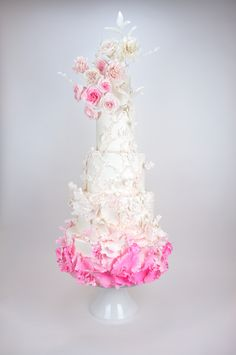 Pretty in Pink Wedding Cake by Melissa Alt Cakes Cakes By Melissa, Sculpted Cakes, Custom Cakes, Pretty In Pink, Wedding Cakes, Texture, Decorated Cakes, Ruffles, Ribbon