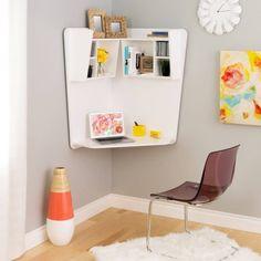Prepac Floating Corner Desk in White, White Laminate