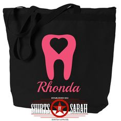 Dental Hygienist Tote Bag Heart Tooth - Personalized Totes For RDH Tooth Hygiene Bags Teeth
