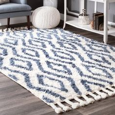 nuLOOM Hand-knotted Moroccan Diamond Trellis Blue Shag Rug (8'6 x 11'6) | Overstock.com Shopping - The Best Deals on 7x9 - 10x14 Rugs