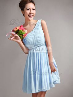 A-Line One Shoulder Draped Short Light Sky Blue Bridesmaid Dresses - US $79.05