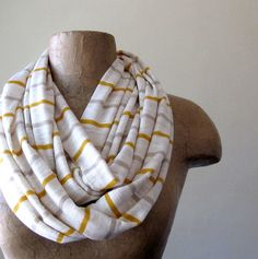 Striped Infinity Scarf - Mustard Yellow, Taupe, Ivory Stripes - Autumn Loop Scarf - Circle Scarf. $26.50, via Etsy.