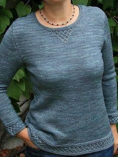 Пуловер с ажурными вставками  Классический пуловер связанный простой лицевой гладью спицами. Дополнительный шарм этому пуловеру добавляют небольшие вставки, связанные ажурным узором. Пуловер предназначен для холодного времени года и связан из тонкой 100% шерсти. Рекомендуемый размер спиц номер 3,5 миллиметра. Небольшой совет: если вы хотите чтобы связанное лицевой гладью полотно получилось максимально аккуратным, при провязывании лицевых петель, спицу продевайте через заднюю часть петли (за…
