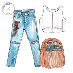 Good objects - @bervena.uy jeans & backpack for the weekend #goodobjects #watercolor #illustration (en Good Objects)