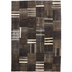 Vintage Turkish Patchwork Kilim Rug with Minimalist Style, Flat-Weave Kilim Rug   From a unique collection of antique and modern turkish rugs at https://www.1stdibs.com/furniture/rugs-carpets/turkish-rugs/