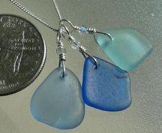 Genuine Surf-Tumble Shades of Blue Sea Glass Necklace & Swarovski Crystals #Handmade #Cluster