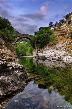 Puente la Vidre. Puente medieval de época Romana, construido para salvar el trascurso del río Cares a la altura de la población Peñamellera de Trescares.