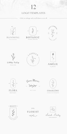 Floral logos & illustrations - available at Creative Market page. Graphic Design Branding, Typography Design, Logo Branding, Logo Floral, Logo Minimalista, Event Logo, Grafik Design, Business Logo, Graphic Design Inspiration
