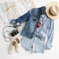Sightsee in style. With vacation season approaching, we're giving tips on what PTO-friendly pieces you should pack for your next adventure. Cute Outfits With Shorts, Short Outfits, New Outfits, Summer Outfits, Fashion Outfits, Casual Outfits, Mommy Style, Style Me, Foto Still