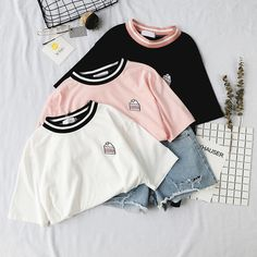 Material: Cotton Design: Embroidered One Size: - Shoulder: 47 cm - Bust: 104 cm - Sleeve: 22 cm - Length: 68 cm Korean Outfits, Retro Outfits, Cute Casual Outfits, Simple Outfits, Aesthetic Shirts, Aesthetic Clothes, Ulzzang Fashion, Korean Fashion, Girls Fashion Clothes