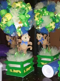 Ribbon topiary centerpiece, for a baby boy monkey theme baby shower.