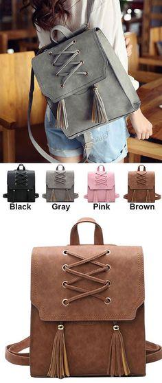 Retro Girl's Cross Bandage Tassels Flap Square School Bag Weave Leisure Brown Travel Backpack for big sale! #brown #travel #backpack #bag #square #school #bag #weave
