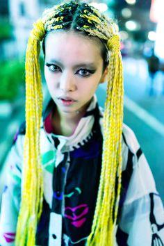 Japanese fashion, lumo neon braids hair, cute new goth