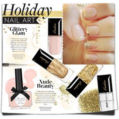"""""""Holiday Nail Art- Nude & Gold"""" by bellasugar on Polyvore"""