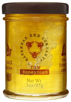 Honey with the comb at Savannah Bee Company. Their stuff is wonderful! We have a store here on the island!