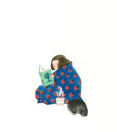 Thinkstare on tumblr- cute illustration. Books, tea and cats.