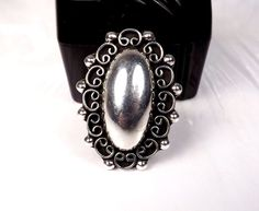 Sterling Silver LARGE Southwestern Concho Jewelry Bold Modern Bead Size 9 Ring #Unbranded