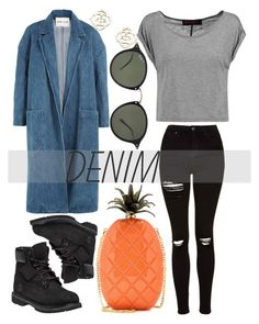 """""""Denim on Denim"""" by estefanifashion on Polyvore featuring Sandy Liang, Topshop, Valentino, Alice + Olivia, Timberland, Ray-Ban and Kendra Scott"""