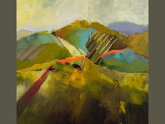 Paintings by Artist Kathy Jones - Distant Hills, 40x40in