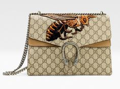 Fans of the Gucci brand are going to be buzzing about this bee embroidered Dionysus bag.