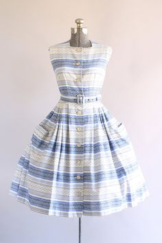 Vintage 1950s Dress / 50s Cotton Dress / Blue and Gray Striped