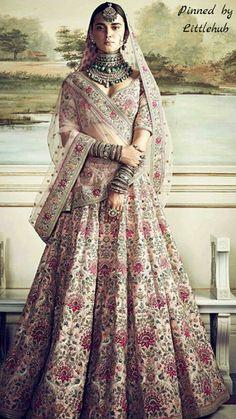 Anushka Sharma's Dreamy Sabyasachi Lehenga Can Now Be Yours Indian Bridal Outfits, Indian Bridal Wear, Indian Dresses, Bridal Dresses, Indian Wedding Dresses, Royal Indian Wedding, Eid Dresses, Indian Lehenga, Silk Lehenga