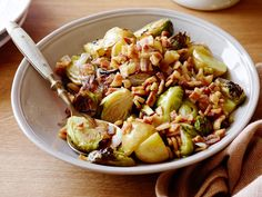 Recipe of the Day: Bobby's Roasted Brussels Sprouts with Pancetta         Roasted on extra-high heat Bobby's way, the layered, leafy veggie becomes tender, blistered and addictively good. Cut the earthiness of the Brussels sprouts with salty pancetta, butter and lemon juice to strike the perfect balance.