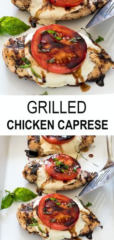 Juicy chicken breast topped with mozzarella cheese, tomato, basil and a homemade balsamic reduction. This delicious weeknight dinner idea is ready in just 30 minutes. Perfect for the whole family - kids love it too! Cooking Recipes, Healthy Recipes, Healthy Grilled Chicken Recipes, Grilled Food, Chicken Caprese Recipe Easy, Sides For Grilled Chicken, Easy Grill Recipes, Recipes For The Grill, Summer Grill Recipes