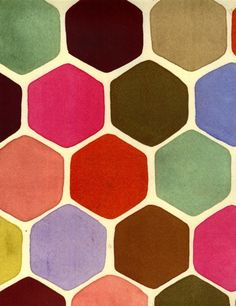 Luli Sanchez (looks like spunky honeycombs, and I like the idea of repeating geometric shapes . . . limitless possibilities when you start varying the hues)