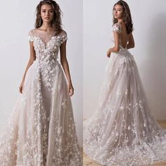 Overskirt Lace Wedding Dresses Detachable Train Arabic Bridal Gowns With Sweetheart Backless Sheer Short Sleeves Bridal Dresses Dresses Red Dresses On Wedding Guest Gowns, Lace Wedding Dress, Wedding Dresses For Girls, Backless Wedding, Wedding Dress Trends, Bridal Dresses, Girls Dresses, Dresses Dresses, Dresses Online