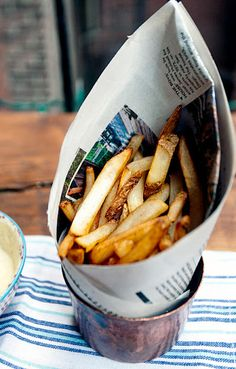 Belgian-Style Fries.  Buy a bag of Trader Joe's Fries. Seriously! They are delicious! Then to make the Belgian-style mayonnaise, just mix regular mayo with a splash of red-wine vinegar, and stir together until you have the tangy taste you like best. Voila!