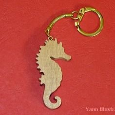 Porte-clés en bois de hêtre hippocampe en chantournage