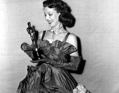 "Loretta Young 1947 for her role as Katie Holstorm in The Farmer's Daughter (1947). ""[Taps three times on the microphone.] That's my heart. You know, up until now, presentations of the Academy Awards has been a purely spectator sport for me. However, tonight I, uh, dressed for the stage just in case. But in all honesty, I suppose I couldn't expect to be more elated than I was when I heard I was nominated, because I had seen and I knew the beautiful jobs done by the other four nominees…"
