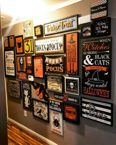fun gallery wall with halloween signs