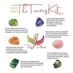 The Taurus Kit, handpicked by The Regal Phoenix is made up of several uniquely paired stones that resonate strongly with the Taurus ♉️ sign (Apr May Crystals And Gemstones, Stones And Crystals, Natural Gemstones, Gem Stones, Medical Health Care, Crystal Healing Stones, Third Eye Chakra, Crystal Meanings, Crystal Grid