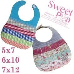 Jelly roll bib 5x7 6x10 and 7x12in the hoop machine embroidery design - Sweet Pea